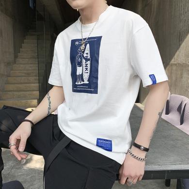卓狼短袖t恤男士夏季新款純棉印花T恤短袖男韓版修身潮流圓領上衣T9169md