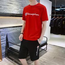 卓狼新款短袖运动套装短裤男士夏季宽松韩版潮时尚休闲两件套TZA909qyk