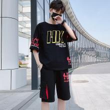 度普森男裝 短袖套裝男士夏季兩件套網紅夏季短袖T恤套裝青少年韓版ins潮流帥氣寬松休閑運動兩件套男短袖套裝RK-641