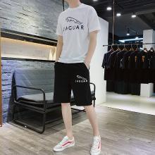 卓狼印花套装男士短袖t恤夏季韩版潮流休闲潮牌上衣运动服两件套TZA902qyk