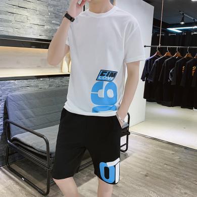 卓狼夏季短袖T恤五分褲男士運動休閑套裝青少年時尚舒適兩件套衣服TZA908qyk