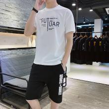 卓狼男士套装新款韩版潮流休闲两件套夏季上衣短袖T恤短裤五分裤TZA903qyk