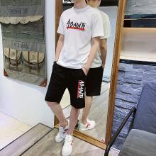 卓狼夏季男青年休闲套装韩版修身圆领短袖T恤印花男士运动套装TZA901qyk
