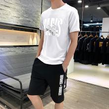 卓狼夏季运动短套装男士五分裤韩版宽松潮休闲跑步裤子沙滩裤套装TZA911qyk