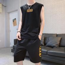 度普森男裝 兩件套男士夏季短袖套裝短袖t恤男夏季新款背心一套裝男士潮牌薄款寬松無袖體恤運動衣服兩件套SL-9071-688