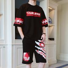 度普森男裝 兩件套男士夏季短袖套裝2019夏季新款休閑運動套裝男時尚t恤男裝青少年一套整套全套衣服兩件套RK-651