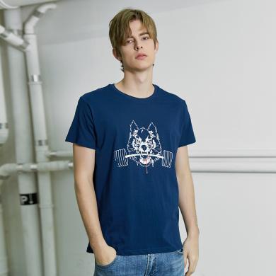 拓路者短袖T恤男纯棉狼头印花韩版修身半袖体恤衫夏季新款潮流  ADT902118