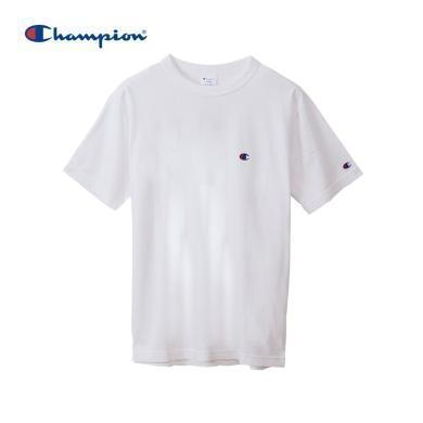 [支持購物卡]正品Champion冠軍 BASIC 刺繡小C LOGO圓領T恤男女同款 白色
