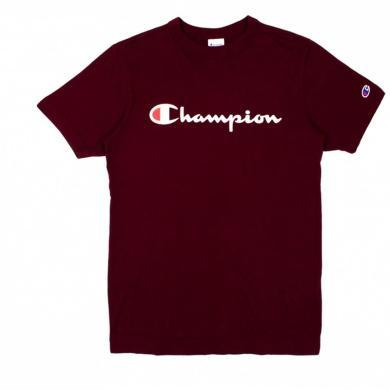 [支持购物卡]正品Champion冠军 BASIC 印花草字 LOGO圆领T恤男女同款 深红色