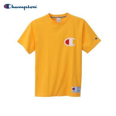 [支持购物卡]正品Champion冠军  ACTION STYLE大C字母LOGO休闲圆领短袖T恤?#20449;?#21516;款 黄色
