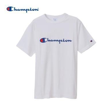 [支持購物卡]正品Champion冠軍 BASIC 印花草字 LOGO圓領T恤男女同款 白色