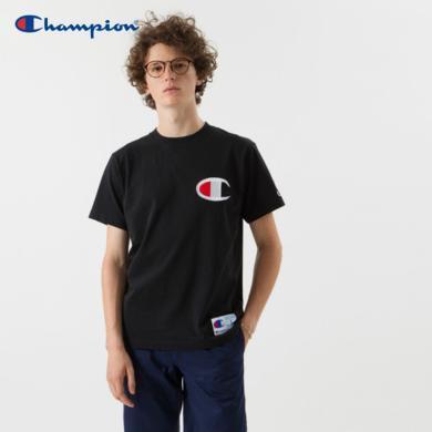 [支持购物卡]正品Champion冠军  ACTION STYLE大C字母LOGO休闲圆领短袖T恤?#20449;?#21516;款 黑色