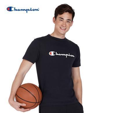 [支持购物卡]正品Champion冠军 BASIC 印花草字 LOGO圆领T恤男女同款 黑色