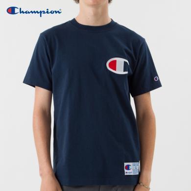 [支持购物卡]正品Champion冠军 ACTION STYLE大C字母LOGO休闲圆领短袖T恤?#20449;?#21516;款 海军蓝