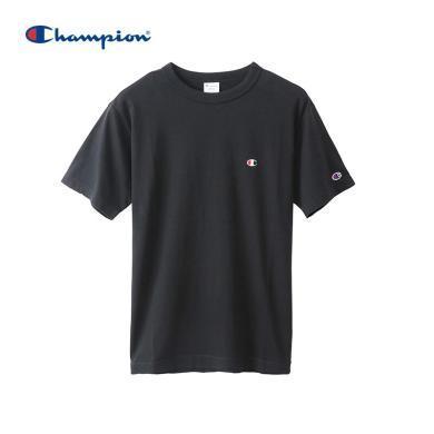 [支持购物卡]正品Champion冠军 BASIC 刺绣小C LOGO圆领T恤?#20449;?#21516;款 黑色