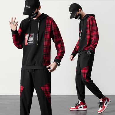 度普森男裝 長袖套裝男士兩件套運動服秋季長袖衛衣男個性潮流韓版帥氣兩件套青少年學生連帽運動一套裝長袖套裝RK-TZ503