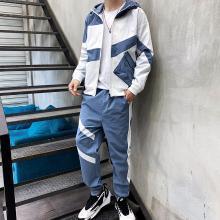 度普森男裝 運動服男士長袖兩件套套裝2019春秋季新款運動套裝男士潮流休閑帥氣一套外套拼接衛衣兩件套運動服NX-TZ165
