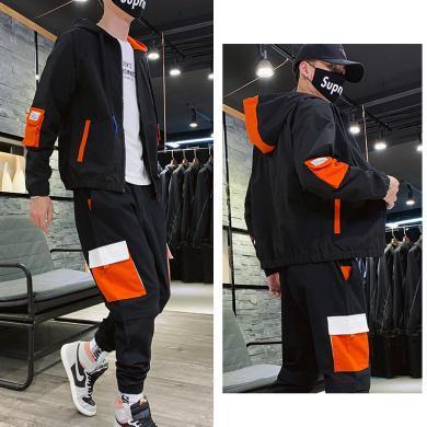 度普森男裝 長袖套裝男士兩件套運動套裝2019秋季新款工裝夾克搭配工裝褲一套帥氣時尚潮流寬松潮男士套裝長袖套裝RK-TZ1913