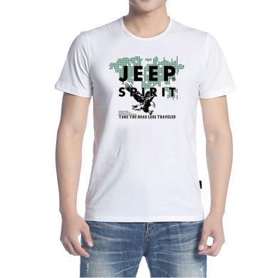 JEEP/吉普 男士短袖T恤圓領2019夏季寬松大碼男裝休閑T恤 304014X