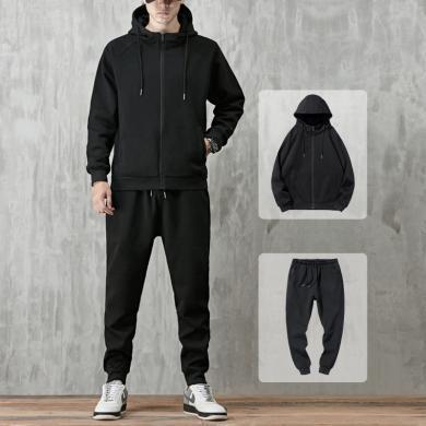 度普森男裝 長袖套裝男士兩件套運動服套裝秋冬季衛衣男士休閑裝套裝2019新款春秋款連帽開衫運動外套兩件套長袖套裝YC-802-805