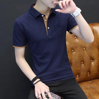 卓狼短袖t恤男装翻领polo衫夏新款运动纯色纯棉半袖修身P808TC