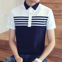 卓狼夏季男短袖T恤 男装新款时尚条纹上衣男 男士修身polo衫P804TC