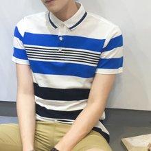 卓狼T恤男夏季短袖條紋漸變純棉透氣商務休閑青年翻領Polo衫衣P8958TC