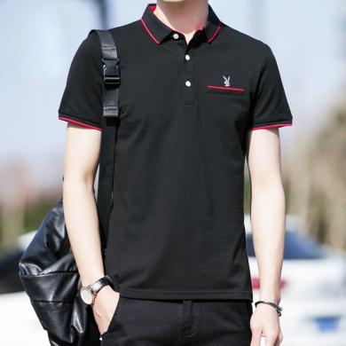 花花公子貴賓 男士POLO衫夏季新款時尚青年休閑短袖T恤修身百搭上衣男