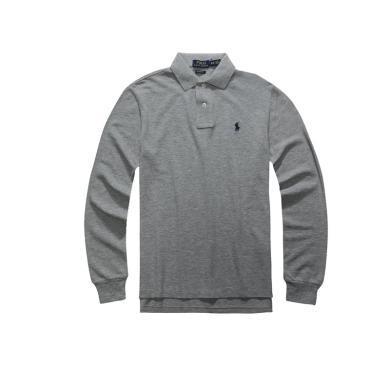 【支持購物卡】美國正品POLO Ralph Lauren拉夫勞倫經典男款小馬標純棉翻領修身長袖Polo衫灰色