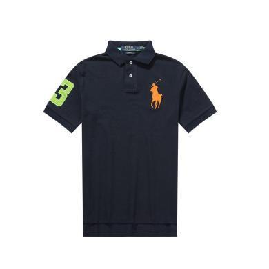 [支持购物卡]美国正品POLO Ralph Lauren拉夫劳伦男款纯棉短袖黑色撞色大马标修身版