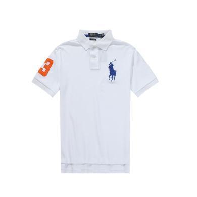 [支持購物卡]美國正品POLO Ralph Lauren拉夫勞倫男款純棉短袖白色撞色大馬標
