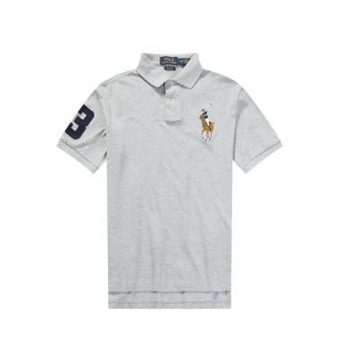 [支持购物卡]美国正品POLO Ralph Lauren拉夫劳伦男款纯棉短袖灰色大马彩标修身版