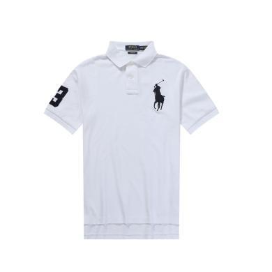 [支持購物卡]美國正品POLO Ralph Lauren拉夫勞倫男款純棉短袖白色大馬標修身版
