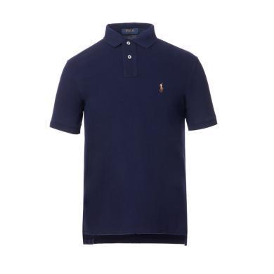 [支持購物卡]美國正品 POLO Ralph Lauren 拉夫勞倫男裝夏季短袖彩色小馬標POLO衫藍色修身版