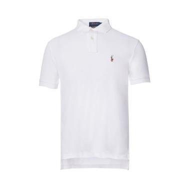 [支持購物卡]美國正品 POLO Ralph Lauren 拉夫勞倫男裝夏季短袖彩色小馬標修身版POLO衫白色