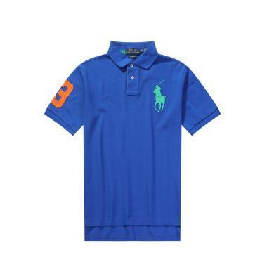 [支持购物卡]美国正品POLO Ralph Lauren拉夫劳伦男款纯棉短袖蓝色撞色大马标修身版