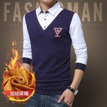 卓狼男装冬季男士保暖衬衫韩版长袖针织假两件加绒加厚毛衣衬衣JR1612