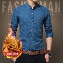 卓狼青年男士保暖加绒加厚长袖衬衫男装商务韩版修身衬衣休闲寸衫JR1617
