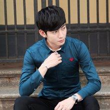 卓狼长袖衬衫男士秋季男装韩版修身时尚休闲绣花衬衣潮男C1631