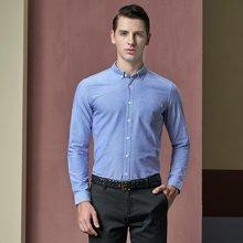 卓狼衬衫男长袖 秋季新款商务休闲男装免烫寸衫纯色薄款男士衬衣C999
