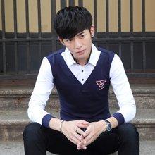 卓狼秋装新款假两件衬衫领男装韩版加大码男士长袖衬衣男C1612