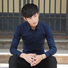 卓狼牛津纺长袖衬衫男 修身纯色免烫休闲大码商务男装白 衬衣C1616