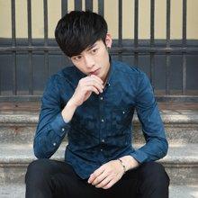 卓狼純棉長袖襯衫 男士韓版修身時尚襯衣 青年男裝燙印襯衫潮款C1617