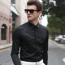 沐羊2017春秋韩版新款男式潮流长袖格子衬衫男士商务条纹修身免烫衬衣87611