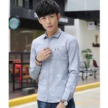 花花公子贵宾 春季新款韩版修身印花薄款潮青少年长袖男装衬衫