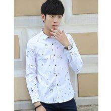 花花公子贵宾 春季新款韩版修身休闲长袖印花青少年衬衫衬衣