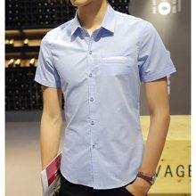魔力怪车 2018夏季新款韩版潮流修身青少年纯色短袖衬衣男士衬衫