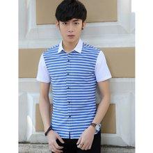 花花公子贵宾 夏季新款韩版修身翻领条纹拼接短袖男士衬衫
