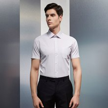 Evanhome/艾梵之家 夏季新款竖条纹短袖衬衫男 修身型商务装正装红?#21672;?#34924;衣DX10112