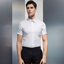 Evanhome/艾梵之家 夏季薄款短袖衬衫男士商务修身型纯棉衬衣职业正装寸衫男DX12301